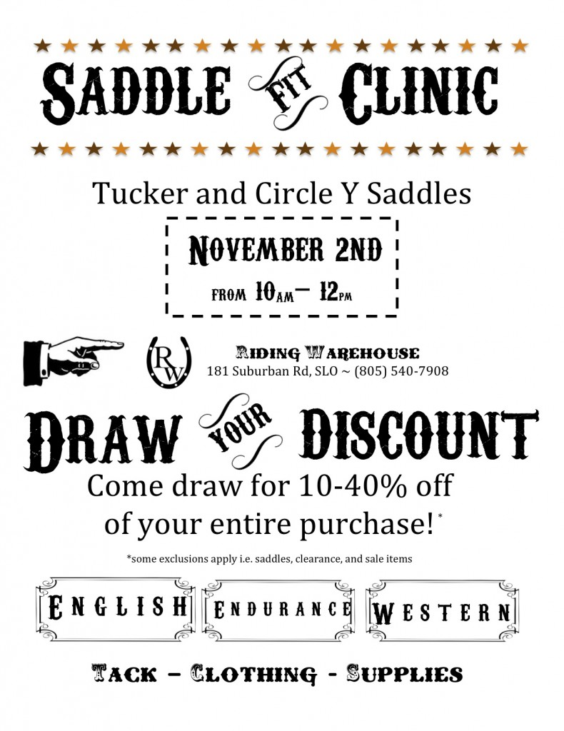 Riding Warehouse Saddle Clinic