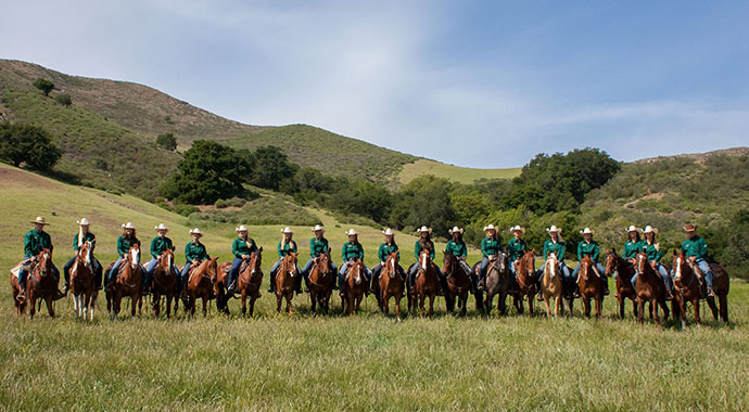 Cal Poly Quarter Horse Enterprise Project Students on Horses