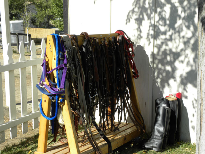 Used boots, bridles and other items for sale.