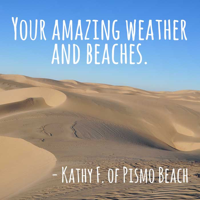 ThanksToSLO Message from Kathy F of Pismo Beach