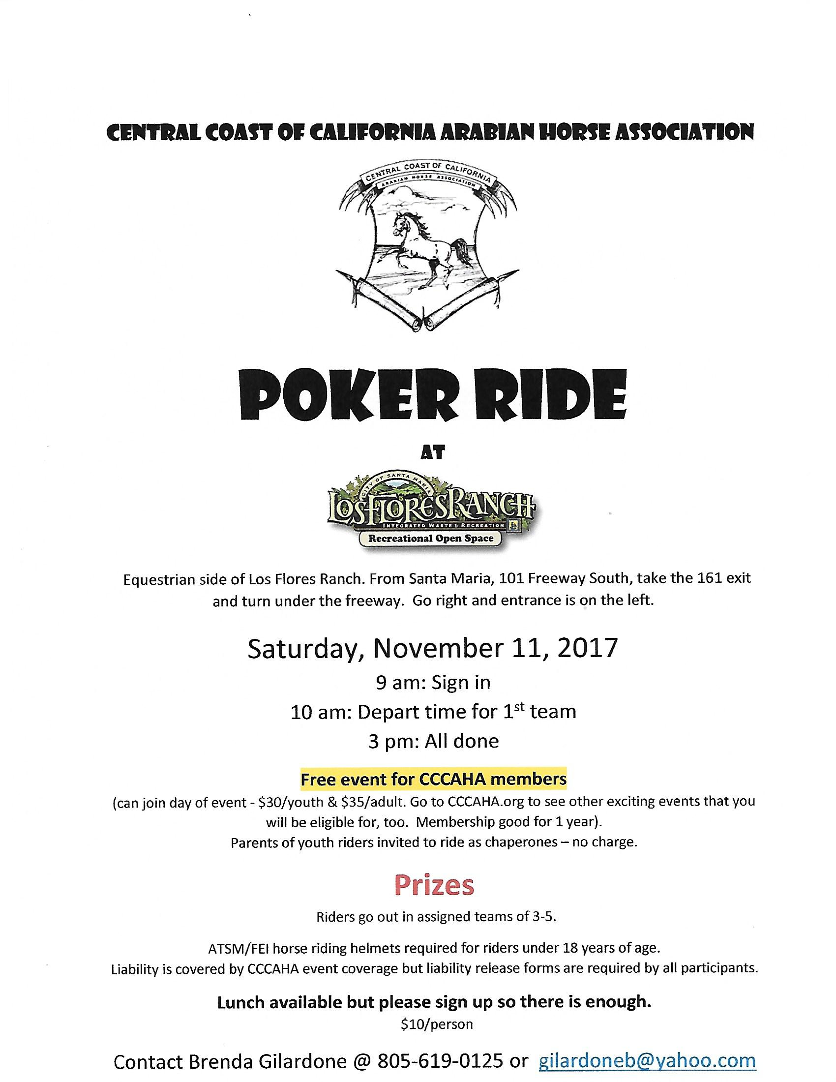 Take a Hand in a Poker Ride at Los Flores Ranch | SLO Horse News