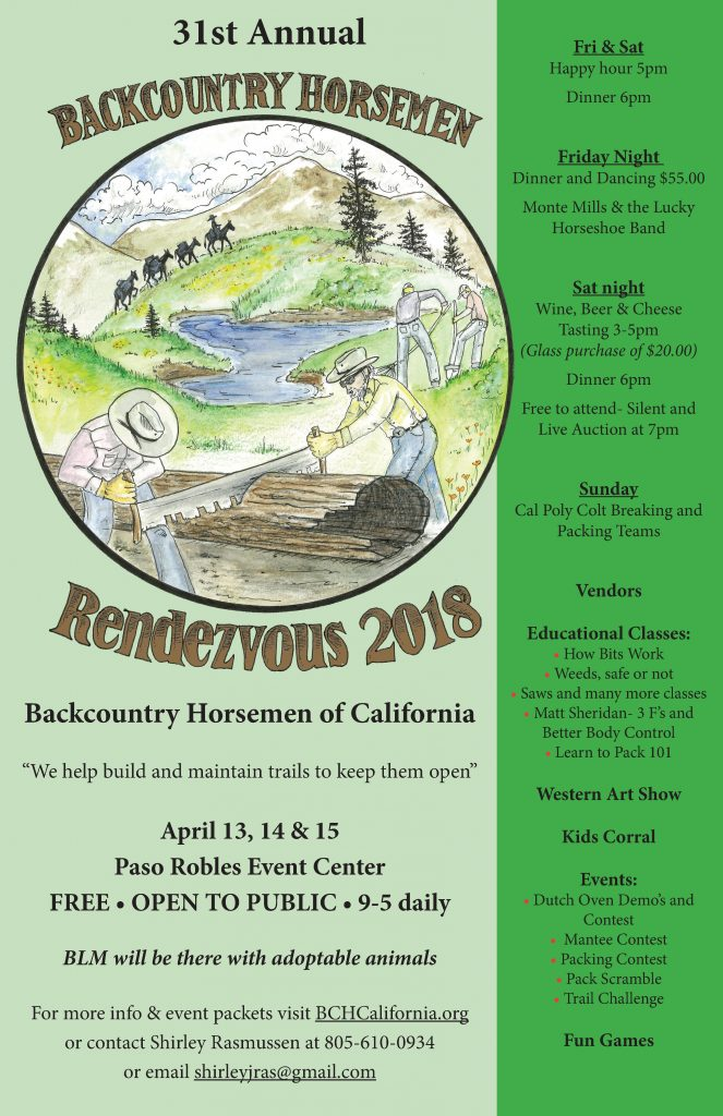 Time to Get Horse Packing! 2018 Backcountry Horsemen Rendezvous | SLO Horse News