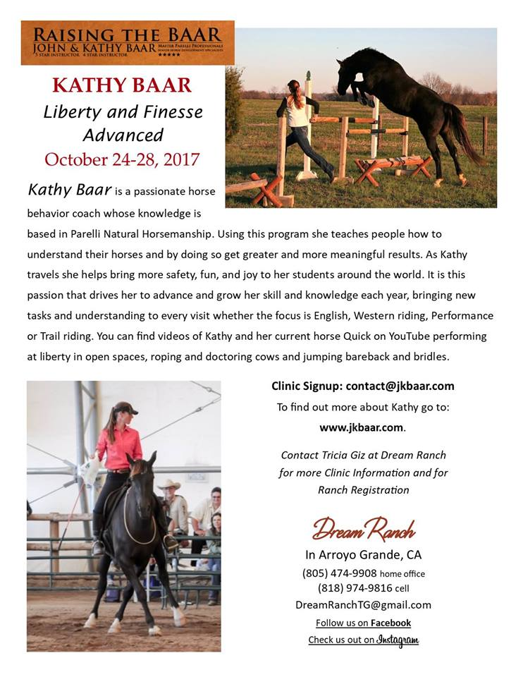 Ride with Finesse as though Your Horse is at Liberty – Kathy Baar Clinic | SLO Horse News