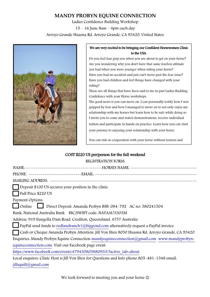 Learn to Ride with Confidence: Mandy Probyn Workshop  | SLO Horse News