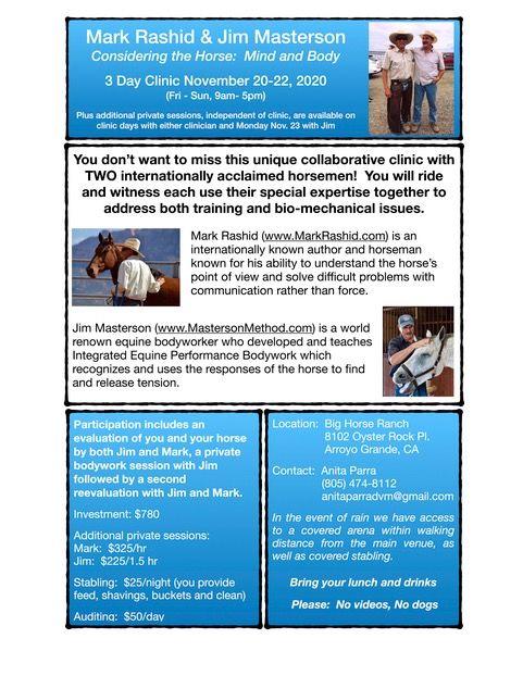 Mark Rashid and Jim Masterson Clinic in Tandem | SLO Horse News